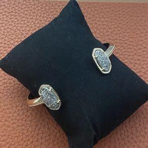 Kendra Scott Elton Cuff Bracelet Drusy Gold Tone